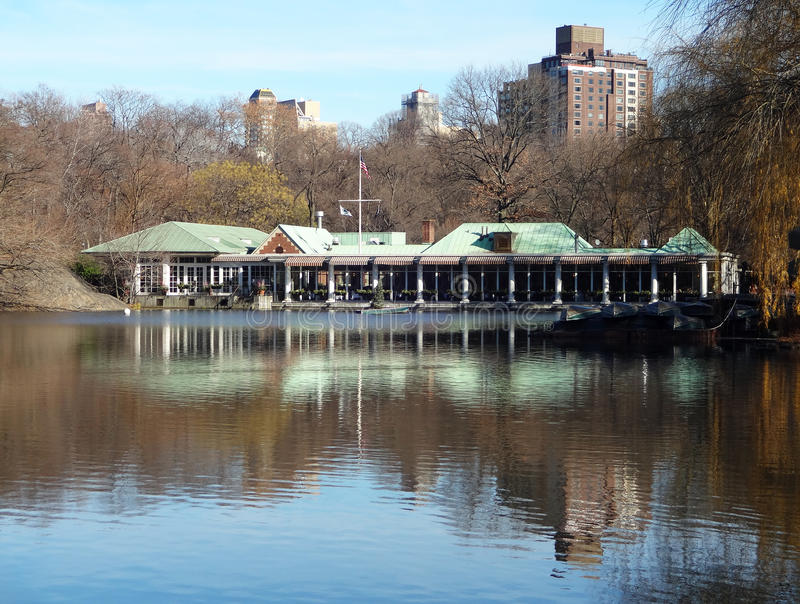 Loeb Boathouse in Central Park, New York City. The Loeb Boathouse on the lake in Central Park, New York City, during wintertime royalty free stock photo
