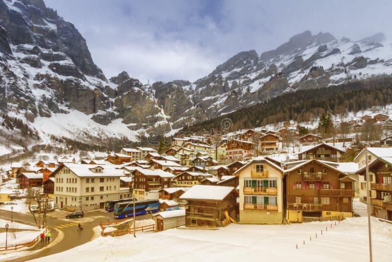 Loeche les bains village in winter, Switzerland stock photography