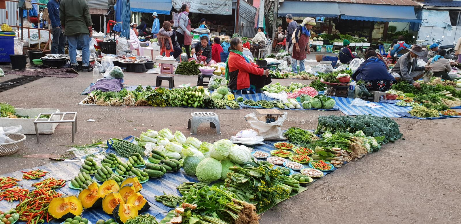 Traditional Thailand fresh morning market. Street food. Thai people buying a lot of vegetable,. LOEI, THAILAND - JANUARY 26, 2019: Traditional Thailand fresh stock images