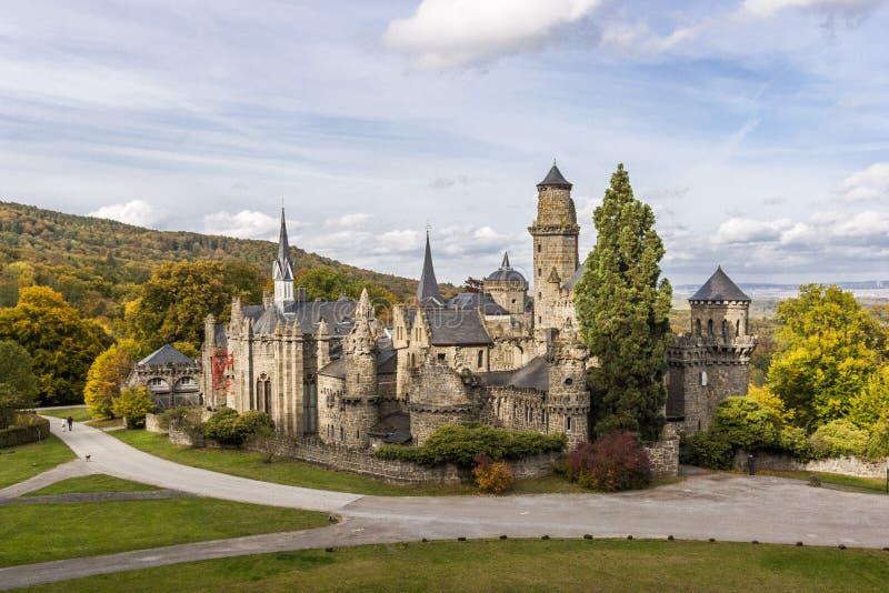 Loewenburg castle in Wilhelmshoehe park, Germany stock photography