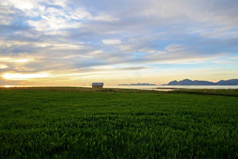 Lofoten海岛海岸的美丽的黄色房子有看法到日落的Vesteralen海岛,挪威,欧洲 免版税图库摄影