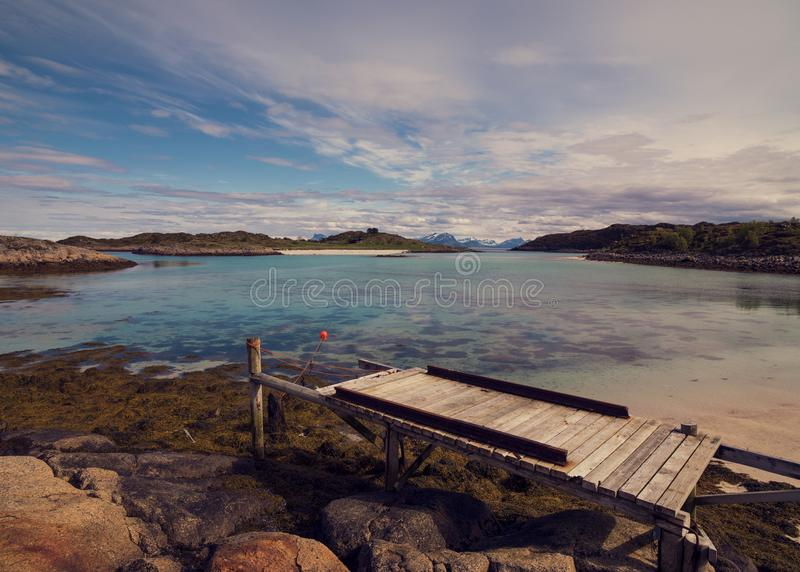 Lofoten bis zum Sommer in Norwegen stockbild