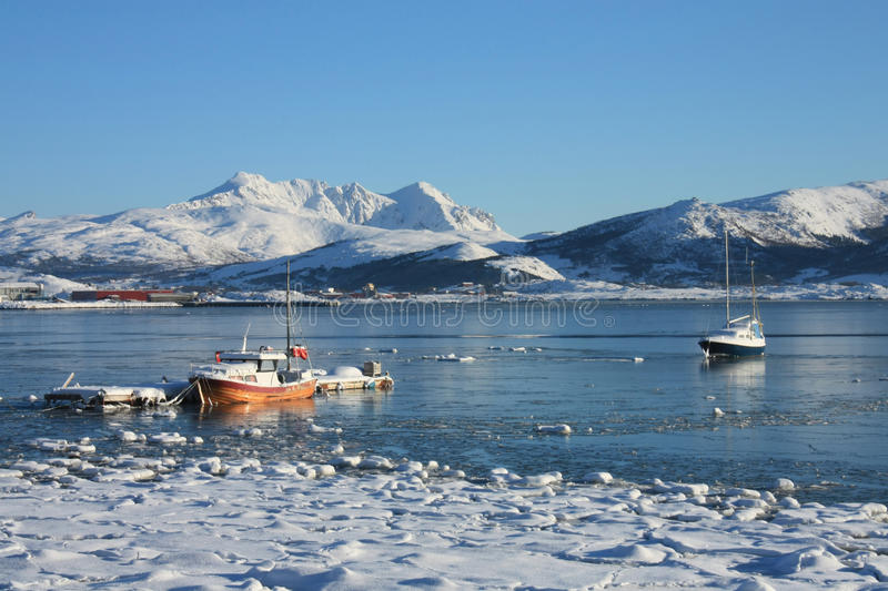Lofoten boats floating on the ice. A small harbour of Lofoten island with the boats fighting against the ice royalty free stock images