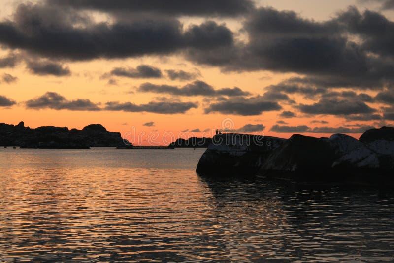 Lofoten dawn. Sunrise at 11. a.m. in Lofoten island, during the winter's dark period royalty free stock images