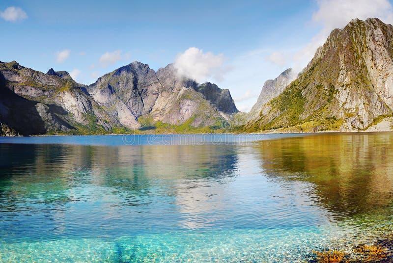 Lofoten famoso, paesaggio della Norvegia, Nordland fotografie stock libere da diritti