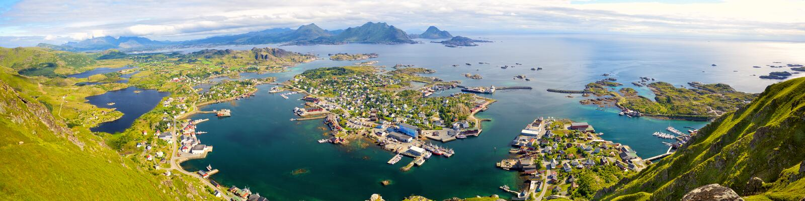 Lofoten Islands aerial panorama stock afbeeldingen