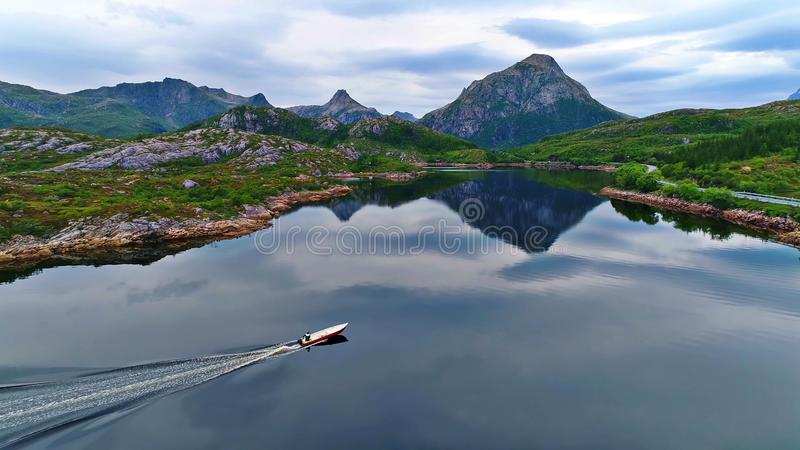 Lofoten islands is an archipelago in the county of Nordland, Norway stock photo