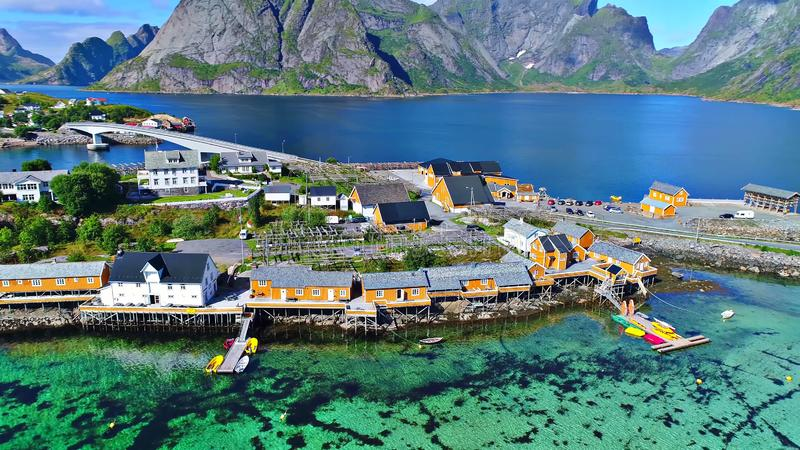 Lofoten islands is an archipelago in the county of Nordland, Norway stock image