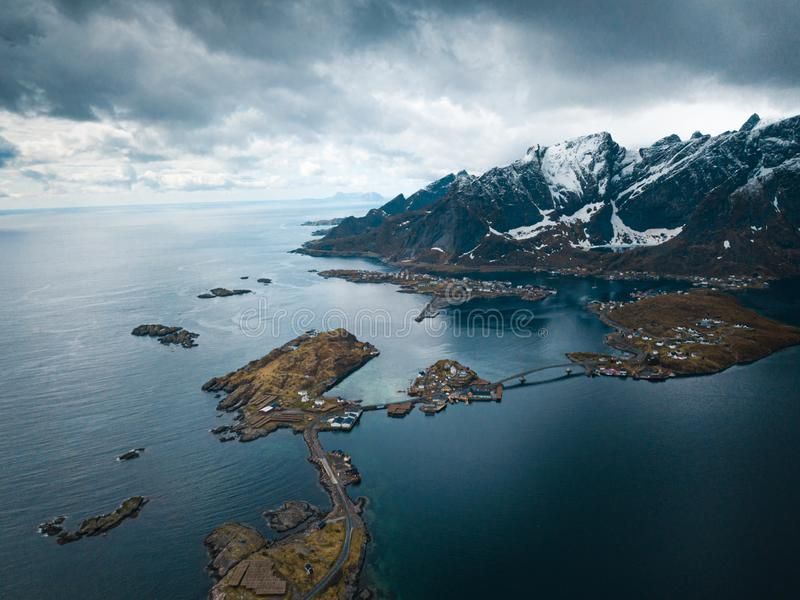 Lofoten islands is an archipelago in the county of Nordland, Norway. Is known for a distinctive scenery with dramatic royalty free stock images