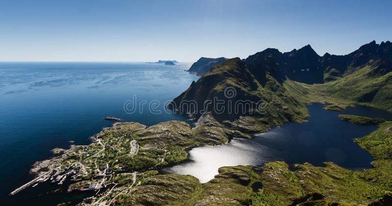 Lofoten Islands and the Norwegian Sea - Summer Scenery stock image
