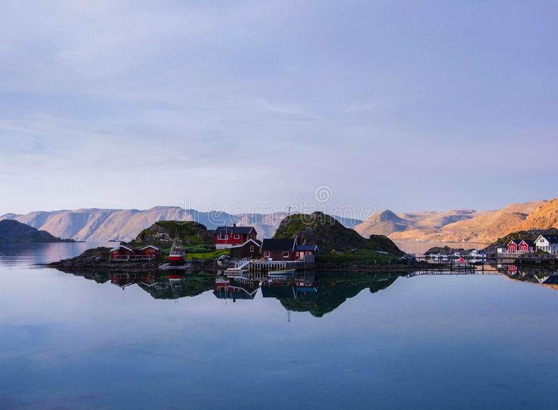Lofoten Islands red houses royalty free stock image