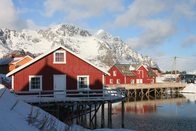 Lofoten palafittes. Henningsvaer i Lofoten traditional cabins on palafittes royalty free stock image