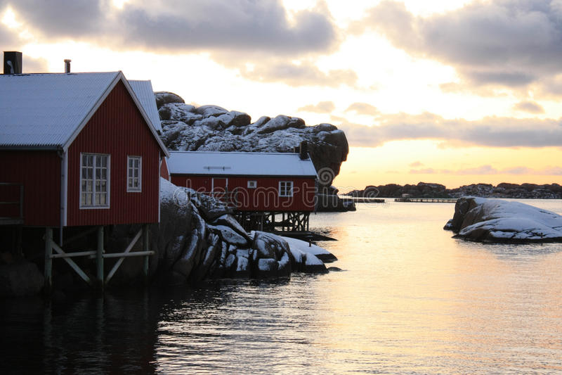Lofoten rorbu in december. Lofoten traditional cabins rorbu in pale december's light royalty free stock photos