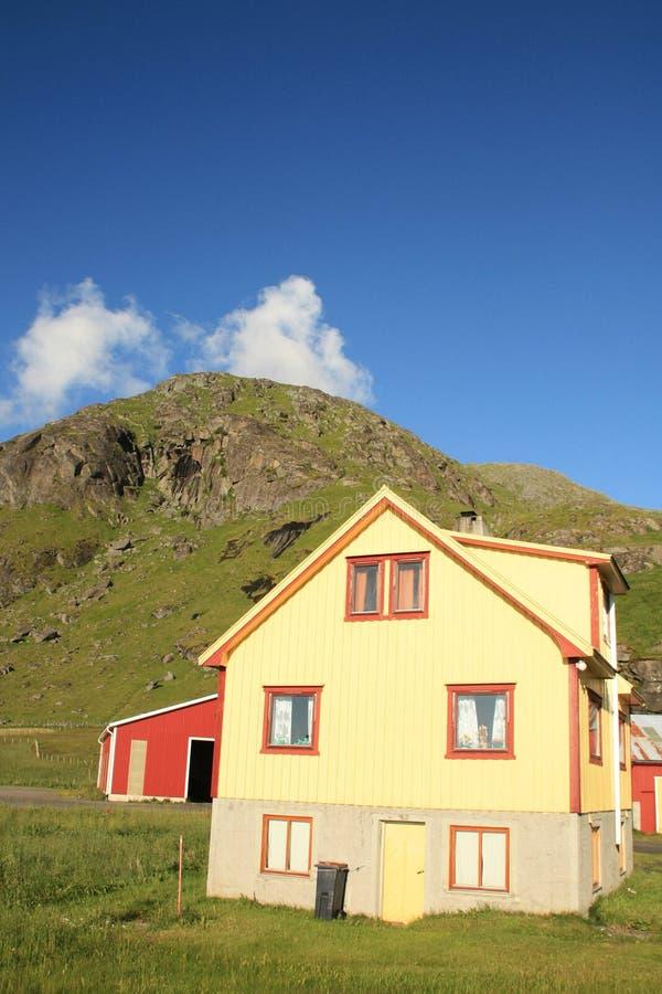 Lofoten's house clouds and mountains stock photos