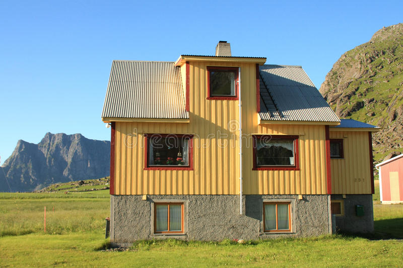 Lofoten's house and mountains stock photography