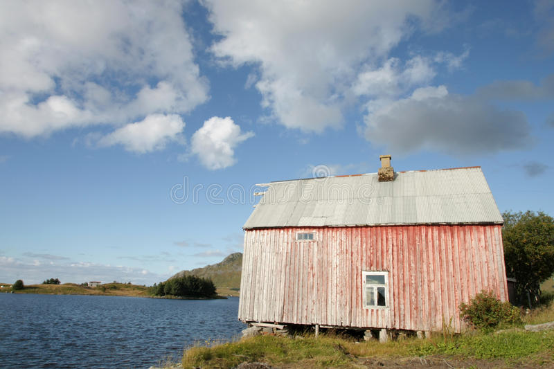 Lofoten's loft aunder a cloudy blue sky royalty free stock photos
