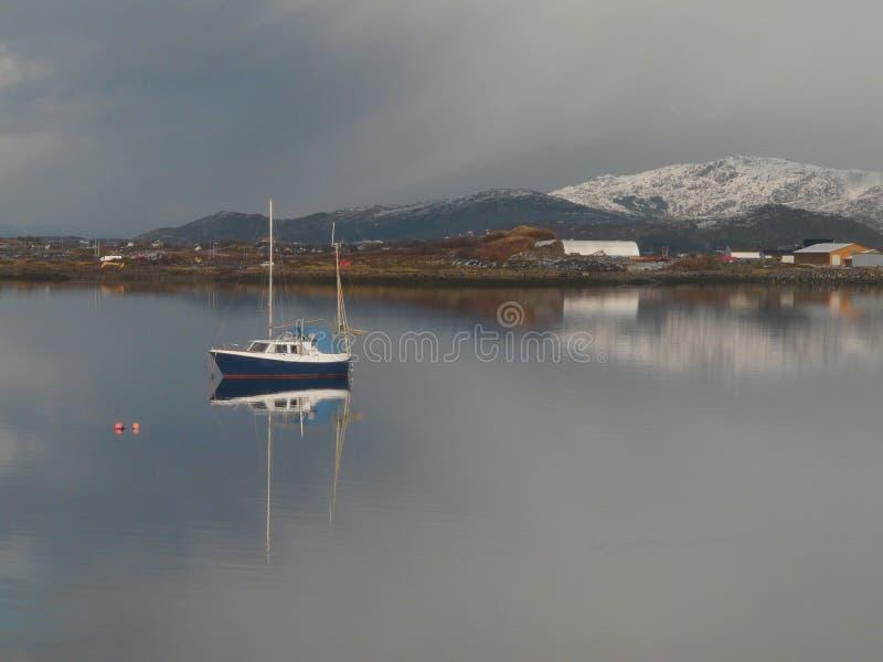 Lofoten's sailor. A small sailing boat in the bay of Gravdal, Lofoten islands stock photos