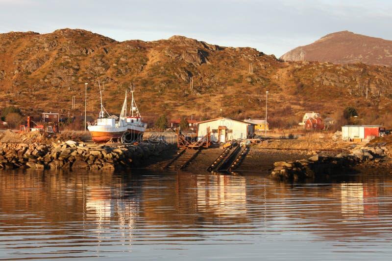 Lofoten's small shipyard. Small shipyard in Busknes fjord, Lofoten islands royalty free stock photography