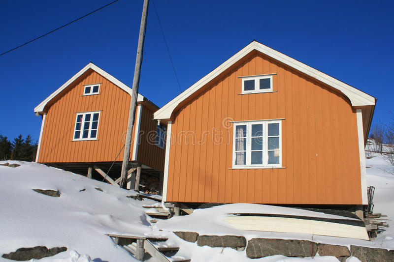Lofoten twins. Two old restored fishermn's cabins in Stamsund's Yttersia stock photo
