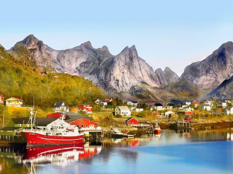 Lofoteneilanden, het Landschap van Noorwegen stock foto's