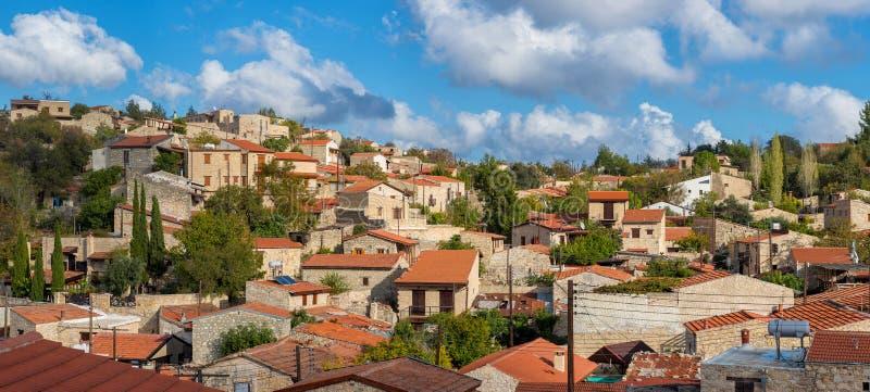 Lofou全景,一个著名旅游村庄在塞浦路斯 L 免版税库存照片