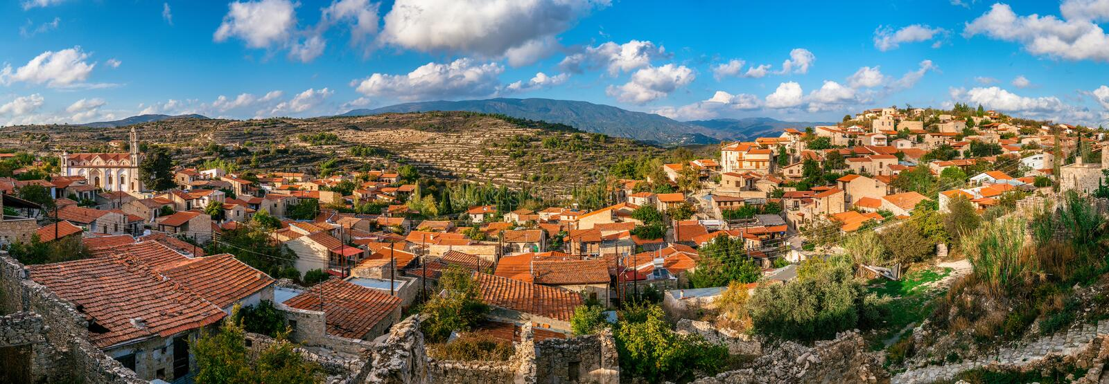 Lofou, a traditional mountain Cyprus village. Limassol District. Panorama stock images