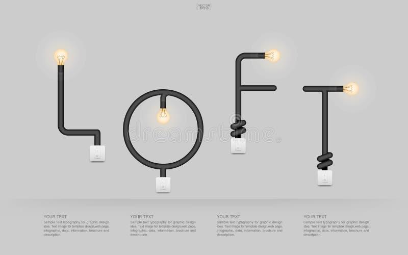 ` LOFT ` Abstrakcjonistyczny liniowy abecadło żarówka i lekka zmiana na szarym tle royalty ilustracja