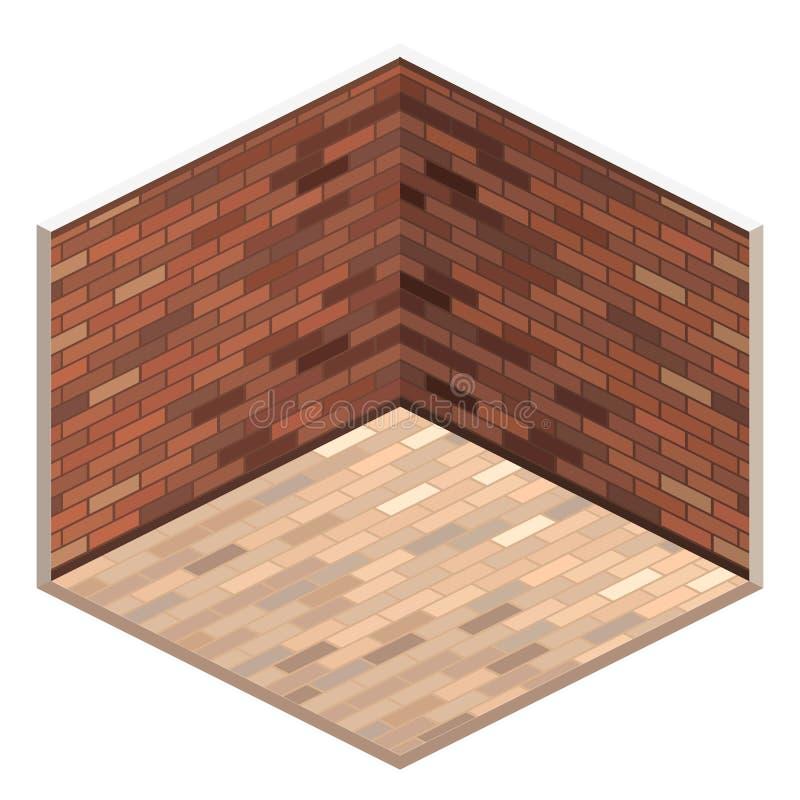 Loft apartment with brick wall. empty room. White illustration room vector illustration