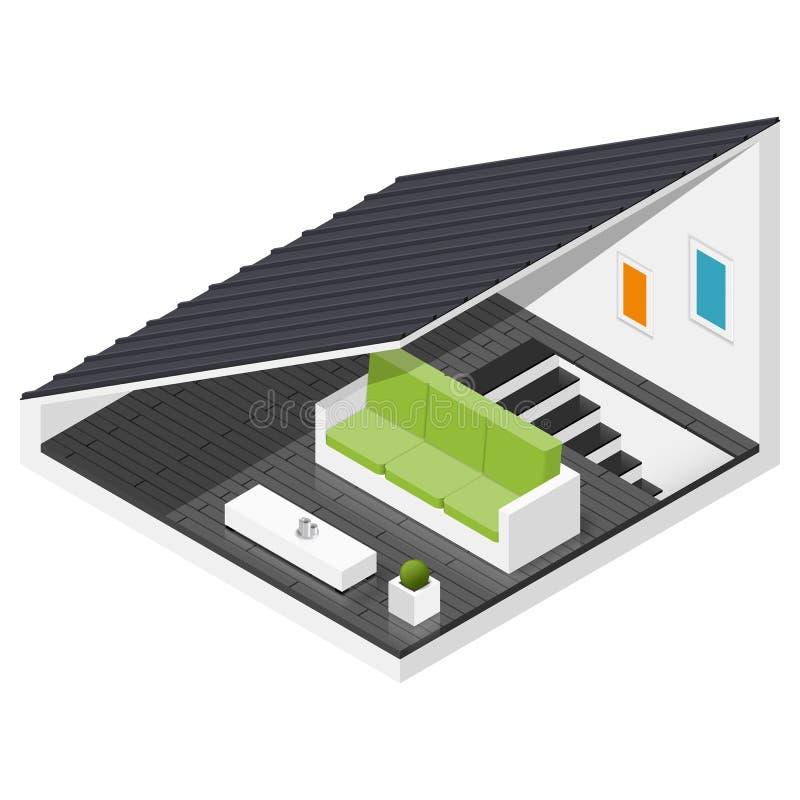 Loft av en isometrisk symbolsuppsättning för privat hus vektor illustrationer