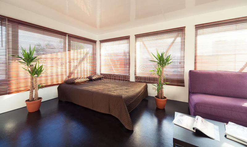 Download Loft bedroom stock image. Image of brown, contemporary - 26171549