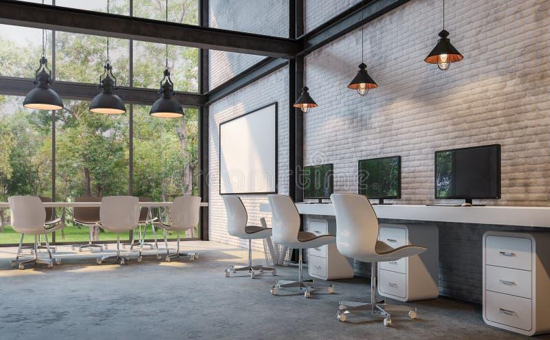 Loft biura 3d renderingu stylowy wizerunek ilustracji