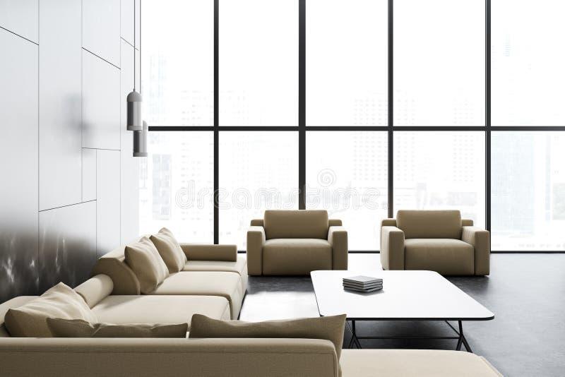 Loft czerń marmurowego żywego pokój, beżowa kanapa ilustracja wektor