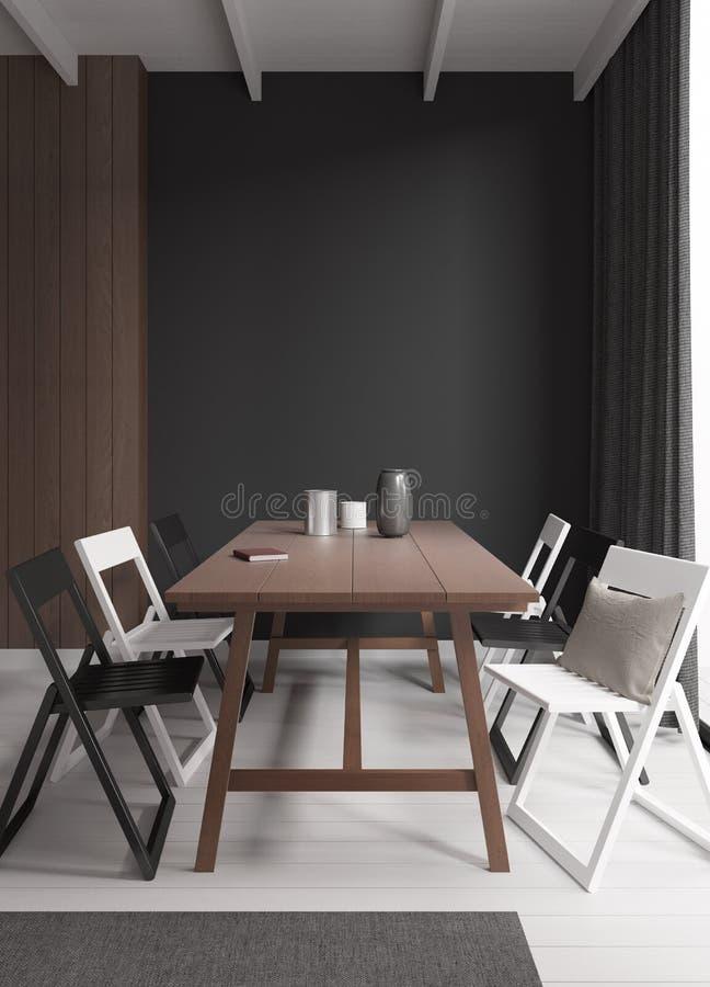 Loft dining room 3d rendering stock photos