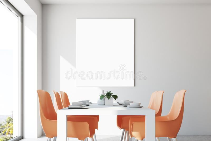 White dining room, orange chairs, poster close up. Loft dining room interior with a long white table and orange chairs. A poster. 3d rendering, mock up royalty free illustration