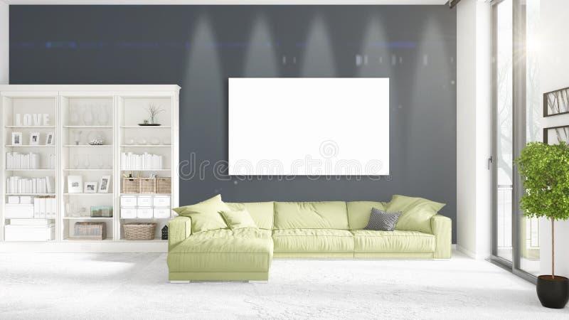 Loft el interior con la visión panorámica, diván verde de la felpa, marco vacío libre illustration