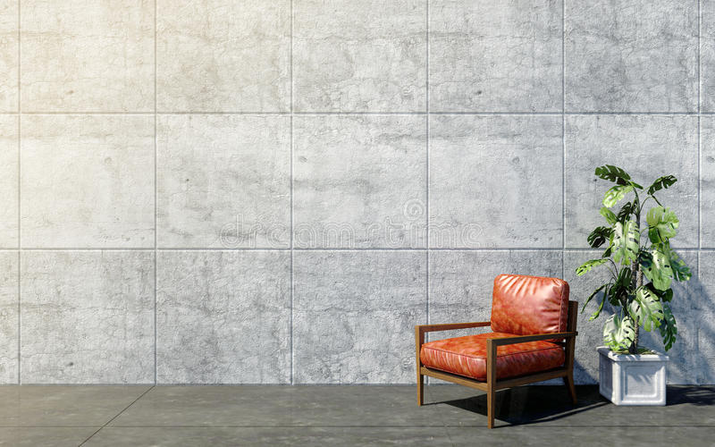 Loft el interior de la sala de estar con el espacio vacío y la silla retra roja del brazo con las plantas decorativas imagen de archivo