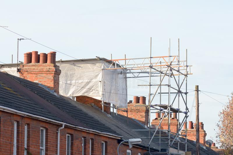 Loft extension being carried out on Victorian terraced property. In England stock photography