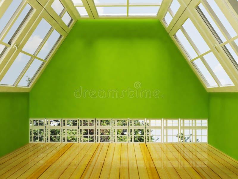Loft fönstren som framför stock illustrationer