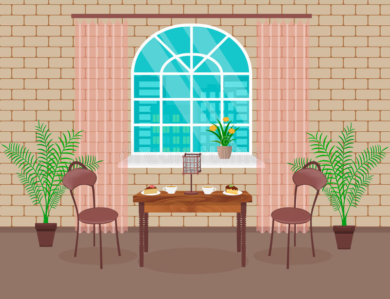 Loft interior design. Living room with brick wall, table, chairs, hot coffee and dessert, lamp, window with arch. stock illustration