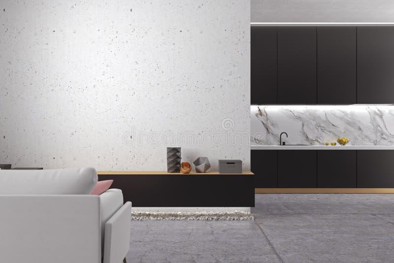 Loft la sala de estar blanca minimalistic con el piso concreto, cocina, sofá ilustración del vector