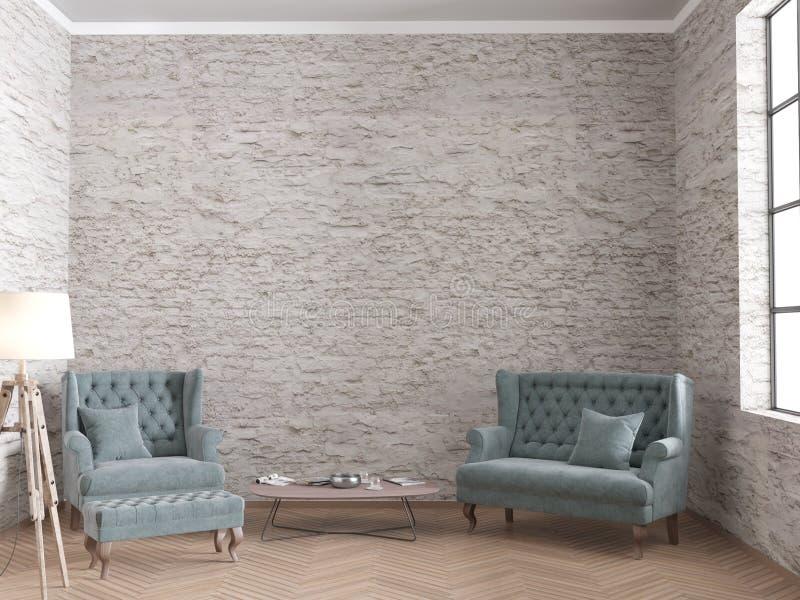 Loft la sala de estar con el sofá del terciopelo y las paredes de ladrillo viejas ilustración del vector
