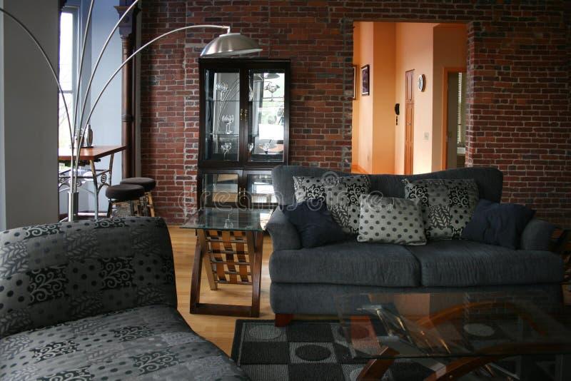 Download Loft living room stock image. Image of furniture, brick - 16243419