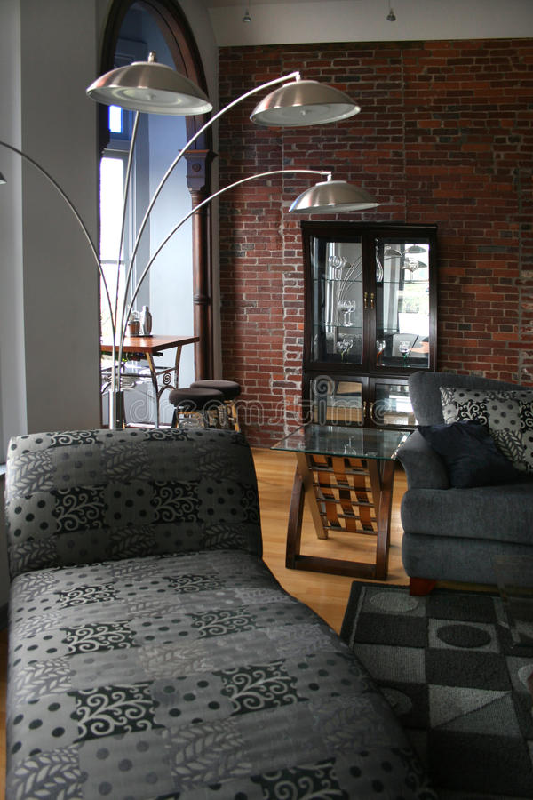Download Loft living room stock photo. Image of wall, table, sofa - 16243422