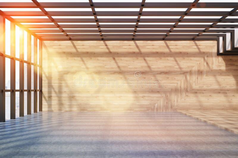 Loft med träväggar och det panorama- fönstret royaltyfri illustrationer
