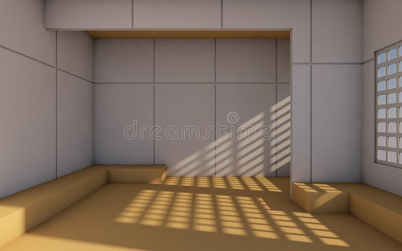 Loft and Modern Contemporary Room and minimal simple wall/3d rendering stock illustration
