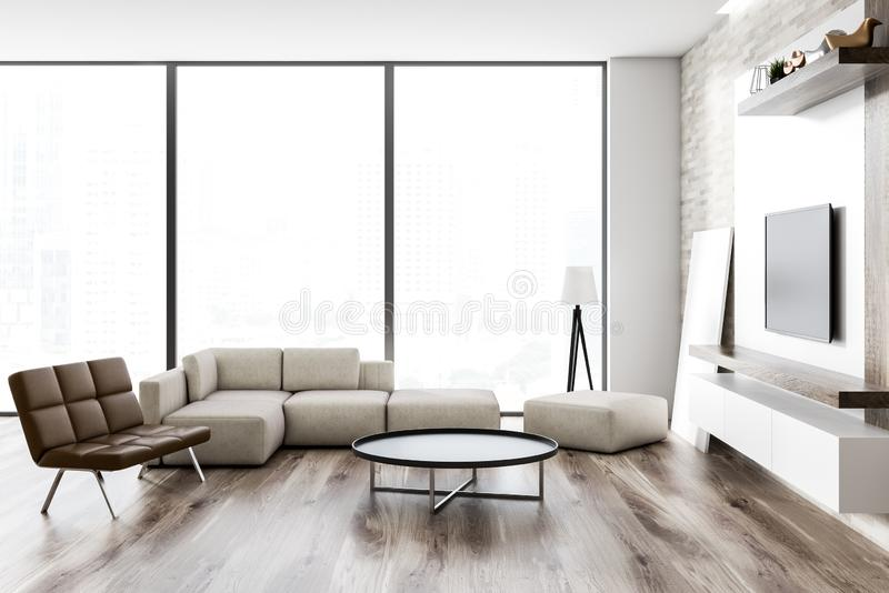 Loft modern living room interior, tv set. Interior of loft living room with wooden floor, white and wooden walls, a sofa and a leather bench. Round coffee table stock illustration