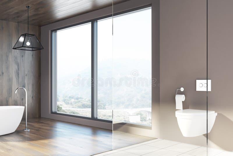 Loft o banheiro, paredes de madeira, uma cuba branca, toalete ilustração stock