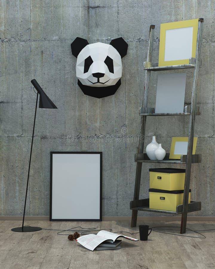 Loft o fundo interior moderno do estilo, 3D rendem fotos de stock