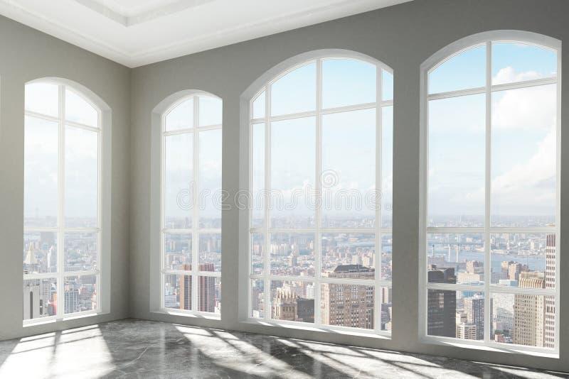 Loft o interior com janelas grandes e opinião da cidade imagem de stock