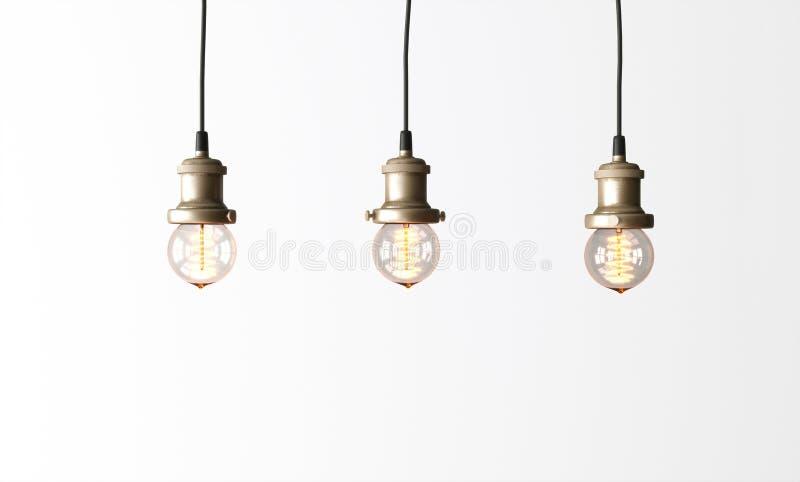 Loft pendant lamps with edison light bulbs. 3d rendering royalty free stock photo